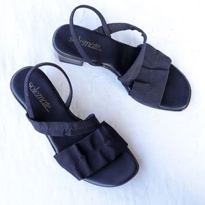 Navy blue block heeled strappy open toes sandals